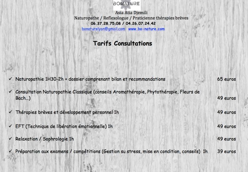 TARIFS CONSULTATIONS SEPT 2017